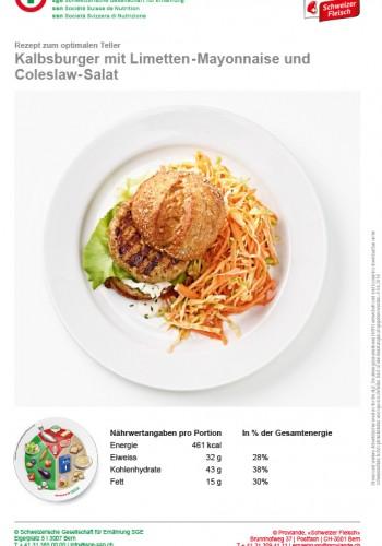Kalbsburger mit Limetten-Mayonnaise und Coleslaw-Salat