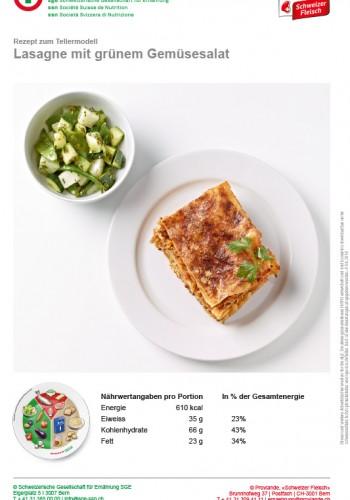Lasagne mit grünem Gemüsesalat