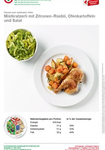 Mistkratzerli mit Zitronen-Rüebli, Ofenkartoffeln und Salat
