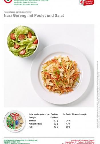 Nasi Goreng mit Poulet und Salat