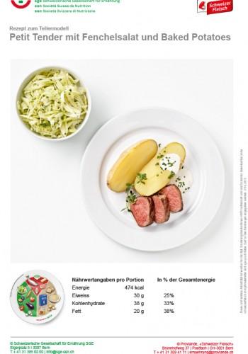 Petit Tender mit Fenchelsalat und Baked Potatoes