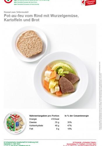Pot-au-feu vom Rind mit Wurzelgemüse, Kartoffeln und Brot