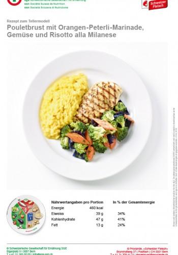 Pouletbrust mit Orangen-Peterli-Marinade, Gemüse und Risotto alla Milanese