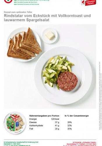 Rindstatar vom Eckstück mit Vollkorntoast und lauwarmem Spargelsalat