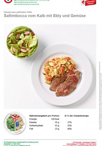 Saltimbocca vom Kalb mit Ebly und Gemüse