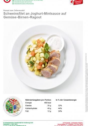 Schweinsfilet an Joghurt-Mintsauce auf Gemüse-Birnen-Ragout
