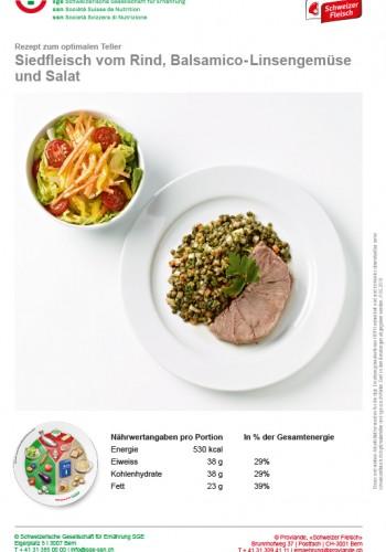 Siedfleisch vom Rind, Balsamico-Linsengemüse und Salat