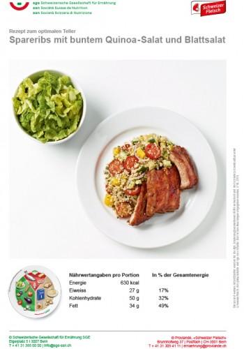 Spareribs mit buntem Quinoa-Salat und Blattsalat