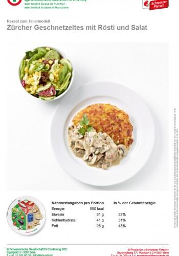 Zürcher Geschnetzeltes mit Rösti und Salat