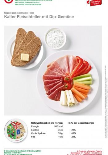 Kalter Fleischteller mit Dip-Gemüse